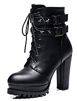 cheap -Women's Boots Chunky Heel Round Toe Synthetics Mid-Calf Boots Classic / Vintage Winter / Fall & Winter Black / Party & Evening