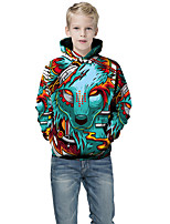 cheap -Kids Boys' Active Punk & Gothic Color Block 3D Animal Long Sleeve Hoodie & Sweatshirt Green