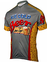 cheap -21Grams Men's Short Sleeve Cycling Jersey 100% Polyester Red+Brown Oktoberfest Beer Bike Jersey Top Mountain Bike MTB Road Bike Cycling UV Resistant Breathable Quick Dry Sports Clothing Apparel
