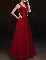 cheap -A-Line V Neck Floor Length Polyester Sparkle / Red Engagement / Formal Evening Dress with Appliques / Crystals 2020