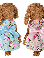 cheap -Dog Cat Dress Dog Clothes Blue Pink Costume Husky Labrador Alaskan Malamute Polyester Cotton Bowknot Flower Leisure Sweet XS S M L XL