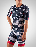 cheap -21Grams Men's Women's Short Sleeve Triathlon Tri Suit Red+Blue Stars National Flag Bike Clothing Suit UV Resistant Breathable Quick Dry Sweat-wicking Sports Stars Mountain Bike MTB Road Bike Cycling