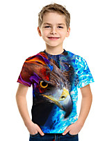cheap -Kids Boys' Active Street chic 3D Animal Print Short Sleeve Tee Rainbow