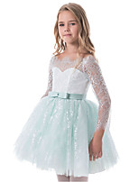 cheap -Princess Dress Flower Girl Dress Girls' Movie Cosplay A-Line Slip Cosplay Green / Blue Dress Halloween Carnival Masquerade Lace Polyester