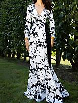 cheap -Women's Elegant Sheath Dress - Geometric White S M L XL
