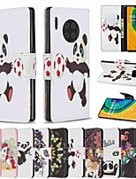 cheap -Case For Huawei Huawei P30 / Huawei 30 Pro / Huawei P30 lite Wallet / Card Holder / with Stand Full Body Cases Panda PU Leather / TPU for Mate 30 Lite / Mate 30 Pro / Honor 10 Lite