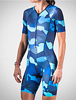 cheap -21Grams Men's Women's Short Sleeve Triathlon Tri Suit Blue Camo / Camouflage Bike Clothing Suit UV Resistant Breathable Quick Dry Sweat-wicking Sports Camo / Camouflage Mountain Bike MTB Road Bike