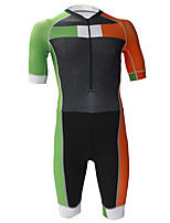 cheap -21Grams Men's Short Sleeve Triathlon Tri Suit Black / Green Patchwork Bike Clothing Suit UV Resistant Breathable Quick Dry Sweat-wicking Sports Patchwork Mountain Bike MTB Road Bike Cycling Clothing