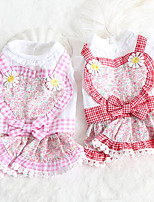cheap -Dog Costume Dress Dog Clothes Breathable Pink Wedding Costume Beagle Bichon Frise Chihuahua Cotton Plaid / Check Bowknot Flower Cosplay Cute XS S M L XL