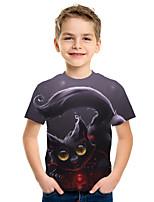 cheap -Kids Boys' Active Street chic Cat 3D Animal Print Short Sleeve Tee Dark Gray