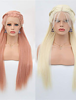 cheap -Synthetic Lace Front Wig Straight Box Braids Middle Part Lace Front Wig Long Blonde Pink Synthetic Hair 18-26 inch Women's Soft Adjustable Party Blonde Pink