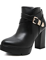 cheap -Women's Boots Chunky Heel Round Toe PU Winter Black