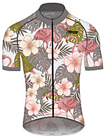cheap -21Grams Men's Women's Short Sleeve Cycling Jersey 100% Polyester Pink+Green Floral Botanical Bike Jersey Top Mountain Bike MTB Road Bike Cycling UV Resistant Breathable Quick Dry Sports Clothing
