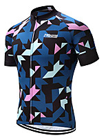 cheap -21Grams Men's Short Sleeve Cycling Jersey 100% Polyester Dark Blue Geometic Bike Jersey Top Mountain Bike MTB Road Bike Cycling UV Resistant Breathable Quick Dry Sports Clothing Apparel / Stretchy