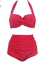 cheap -Women's Basic Red Underwire Cheeky High Waist Bikini Tankini Swimwear - Solid Colored S M L Red