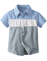 cheap -Kids Toddler Boys' Basic Street chic Color Block Short Sleeve Shirt Blue