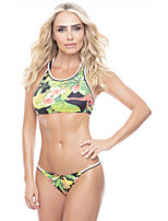 cheap -Women's Basic Black White Green Bandeau Cheeky High Waist Bikini Swimwear - Floral Geometric Lace up Print S M L Black