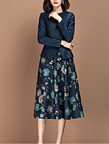 cheap -Audrey Hepburn The Marvelous Mrs. Maisel Outfits Elegant Dress Coat Outfits Women's Costume Ink Blue Vintage Cosplay Work Office & Career Long Sleeve