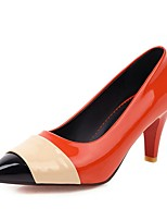 cheap -Women's Heels Stiletto Heel Pointed Toe Patent Leather Preppy / Minimalism Spring & Summer Black / White / Orange / Color Block