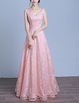 cheap -A-Line V Neck Floor Length Polyester Elegant Prom / Formal Evening Dress 2020 with Pleats