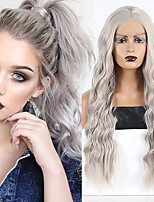 cheap -Synthetic Lace Front Wig Wavy Middle Part Lace Front Wig Long Grey Synthetic Hair 18-26 inch Women's Cosplay Soft Adjustable Gray