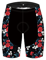 cheap -21Grams Men's Women's Cycling Shorts Bike Pants / Trousers Padded Shorts / Chamois Bottoms Breathable 3D Pad Quick Dry Sports Floral Botanical Black / Red Mountain Bike MTB Road Bike Cycling Clothing