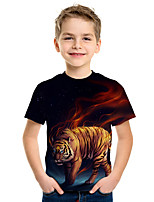 cheap -Kids Boys' Active Street chic Tiger 3D Animal Print Short Sleeve Tee Rainbow
