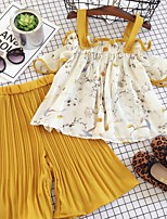 cheap -Kids Girls' Basic Floral Short Sleeve Clothing Set Yellow