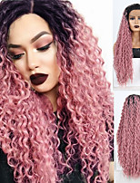 cheap -Synthetic Lace Front Wig Deep Curly Spiral Curl Free Part Lace Front Wig Long Black / Pink Synthetic Hair 18-30 inch Women's Lace Heat Resistant Classic Pink / Natural Hairline