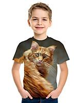 cheap -Kids Boys' Active Street chic Cat 3D Animal Print Short Sleeve Tee Yellow