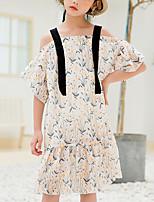 cheap -Kids Girls' Cute Boho Floral Short Sleeve Midi Dress Blushing Pink