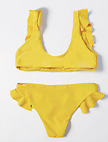 cheap -Women's Basic Blushing Pink Orange Yellow Bandeau Cheeky High Waist Bikini Swimwear - Floral Geometric Lace up Print S M L Blushing Pink