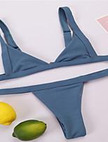cheap -Women's Basic Black Wine White Triangle Thong Bikini Swimwear - Solid Colored S M L Black