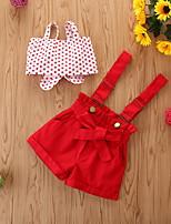 cheap -Baby Girls' Casual Print Sleeveless Short Short Clothing Set Red
