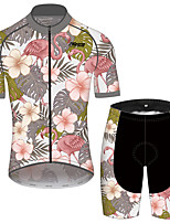 cheap -21Grams Men's Women's Short Sleeve Cycling Jersey with Shorts Gray+Green Floral Botanical Bike Clothing Suit Breathable 3D Pad Quick Dry Reflective Strips Sweat-wicking Sports Floral Botanical