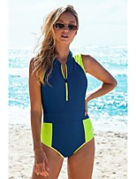 cheap -Women's Basic Fuchsia Blue One-piece Swimwear - Color Block S M L Fuchsia