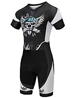 cheap -21Grams Men's Short Sleeve Triathlon Tri Suit Black / White Skull Bike Clothing Suit UV Resistant Breathable Quick Dry Sweat-wicking Sports Skull Mountain Bike MTB Road Bike Cycling Clothing Apparel
