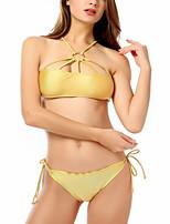 cheap -Women's Basic Gold Halter Thong Bikini Swimwear Swimsuit - Solid Colored S M L Gold