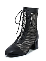cheap -Women's Boots Chunky Heel Round Toe Mesh / PU Mid-Calf Boots Classic / Vintage Spring & Summer Black / White / Party & Evening