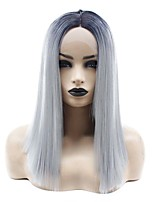 cheap -Synthetic Lace Front Wig Straight Minaj Middle Part Lace Front Wig Medium Length Ombre Grey Synthetic Hair 14-16 inch Women's Heat Resistant Women Hot Sale Gray Ombre / Glueless
