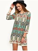 cheap -Women's Elegant Shift Dress - Geometric Green S M L XL
