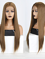 cheap -Synthetic Lace Front Wig Straight Middle Part Lace Front Wig Long Brown Synthetic Hair 18-26 inch Women's Soft Adjustable Party Brown