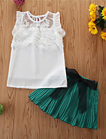 cheap -Toddler Girls' Basic Casual Solid Colored Sleeveless Regular Regular Clothing Set White
