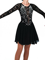 cheap -Figure Skating Dress Women's Girls' Ice Skating Dress Black Patchwork Spandex High Elasticity Training Competition Skating Wear Crystal / Rhinestone Long Sleeve Ice Skating Figure Skating