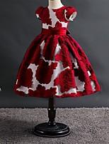 cheap -Princess Dress Flower Girl Dress Girls' Movie Cosplay A-Line Slip Cosplay Ink Blue / Red Dress Halloween Carnival Masquerade Polyester