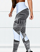 cheap -Women's High Waist Yoga Pants Color Block Black White Dark Black Black / White Running Fitness Gym Workout Tights Leggings Sport Activewear Breathable Moisture Wicking Butt Lift Tummy Control High