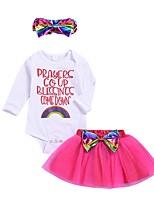 cheap -Baby Girls' Basic Print Long Sleeve Regular Clothing Set White