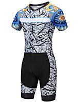 cheap -21Grams Women's Short Sleeve Triathlon Tri Suit Blue / White Bike Clothing Suit UV Resistant Breathable Quick Dry Sweat-wicking Sports Graphic Mountain Bike MTB Road Bike Cycling Clothing Apparel