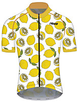 cheap -21Grams Men's Short Sleeve Cycling Jersey 100% Polyester Yellow Fruit Lemon Bike Jersey Top Mountain Bike MTB Road Bike Cycling UV Resistant Breathable Quick Dry Sports Clothing Apparel / Stretchy