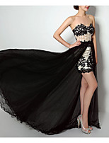 cheap -Two Piece Strapless Sweep / Brush Train Polyester Sexy / Black Prom / Formal Evening Dress with Sequin / Appliques 2020